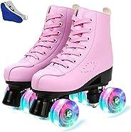 Women Roller Skates PU Leather High-top Roller Skates Four-Wheel Roller Skates Double Row Shiny Roller Skating