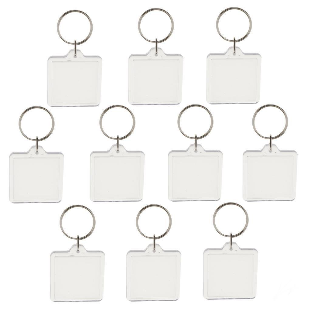 oppstore 10pcs Blank Clear Acrylic Keyrings Size 33mm Photo Insert Craft Square Key Chain Great For Ideal Personalised Gift