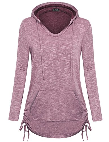 FANSIC Pullover Hoodies for Women Plus Size, Women's Long Sleeve V-Neck Kangaroo Pocket Pullover Hoodies Sweatshirt Large ()