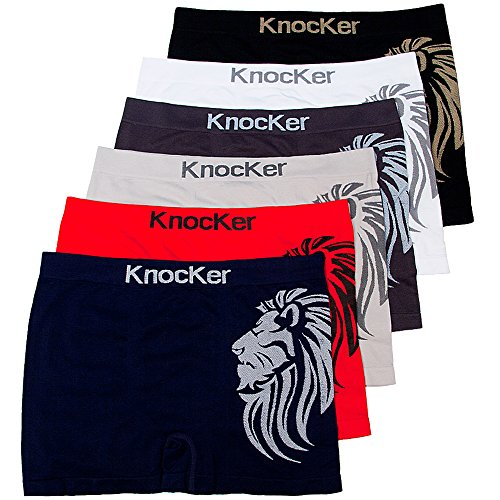 Knocker 6 Mens Microfiber Boxer Briefs Seamless Compression Underwear One Size ()