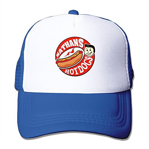 [Candi Men's Delicious Nathan's Hot Dog Hat Sports Baseball Flexfit Size One Size RoyalBlue] (Minecraft Costume Contest 2016)