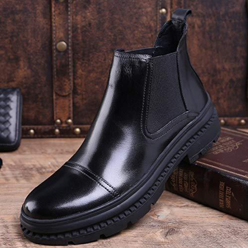 Stivali Pelle da Black Sposa in Uomo Classico Stivali Alto Stivali Nero Brogue da Boots Abito Sicurezza Piattaforma Chelsea Uomo 4TqIn