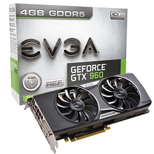 EVGA GeForce GTX 960 4GB ACX 2.0+ GAMING, Whisper Silent Cooling Graphic Card 04G-P4-3965-KR