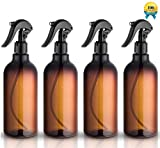 #3: Spray Bottles, 16oz Plastic Spray Bottles with Black Fine Mist Sprayers Refillable Container for Essential Oils, Cleaning, Kitchen, Garden, Hair by Household Sprayer(4 pack)