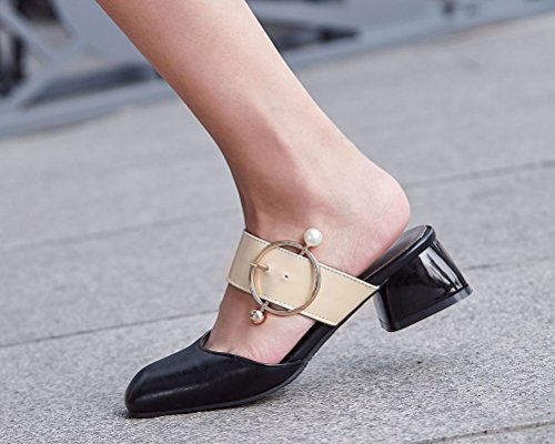 Square Toe 4 Pearl Gladiator Black Slip Slippers Contrast Size Women's Color Closed Clogs on 15 Sandals HiEase w8nzU1qx
