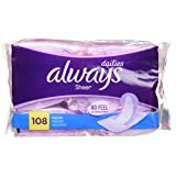Always Sheer Daily Liners, 108 Count, Unscented, Wrapped, Light