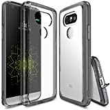 LG G5 Case, Ringke [FUSION] Crystal Clear PC Back TPU Bumper [Drop Protection/Shock Absorption Technology][Attached Dust Cap] Raised Bezels Protective Cover For LG G5 2016 - Smoke Black