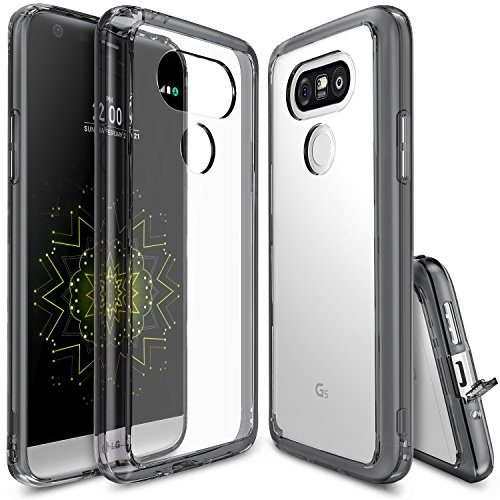 (Ringke [Fusion] Compatible with LG G5 Case Clear PC Back TPU Bumper [Drop Protection, Shock Absorption Technology][Attached Dust Cap] Raised Bezels Protective Cover for LG G5 2016 - Smoke Black)