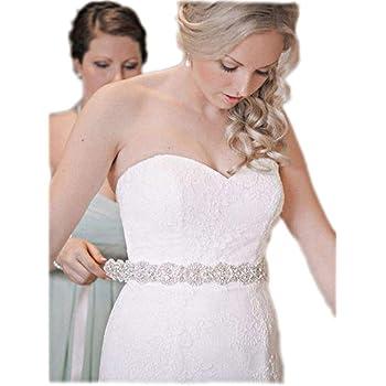Amazon.com: Kunlai Silver Crystal with White Ribbon Bridal Belt ...