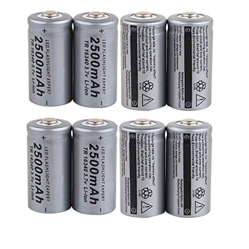 NANTE Accessories 8PCS Rechargeable Lithium Battery Cylindrical Battery 3.7V 2500mAh Overheat Protection (Silver)