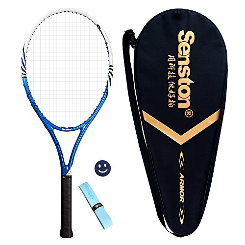 Senston Adult Tennis Racket Prestrung Tennis Racquet ,Strung with Cover,Tennis Overgrip , Vibration Damper(Blue)