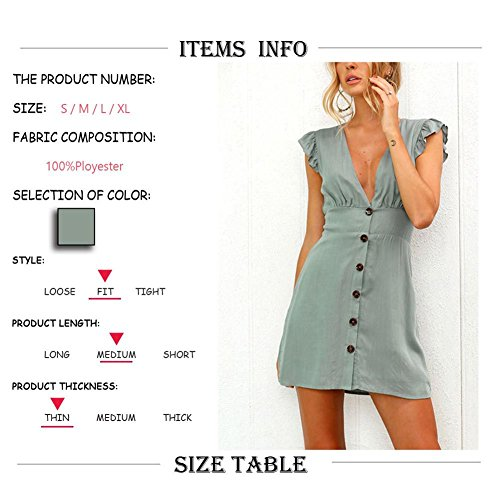 Solid Line Backless Low Waist Sleeves Front Flared Pandada High Buttons A Dresses Tunic neck Casual Color V Women's Ruffled cut FSnqwUAP7q