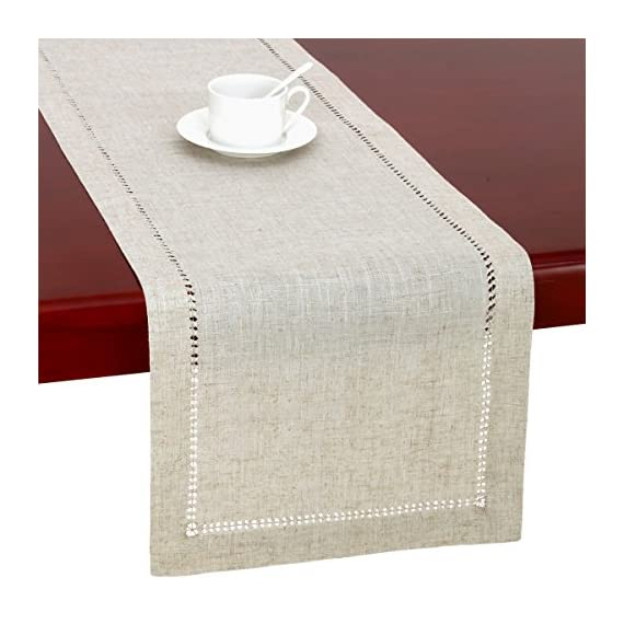 Grelucgo Handmade Hemstitched Natural Rectangle Lace Table Runners (14x72 inch) - Hand hemstitched natural color 50% linen, 50% polyester Machine washable - table-runners, kitchen-dining-room-table-linens, kitchen-dining-room - 51BDTCMsWmL. SS570  -