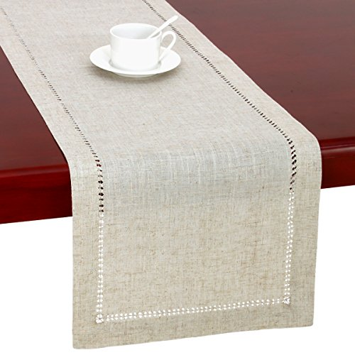 Handmade Hemstitched Natural Rectangle Lace Table Runners (14x48 inch) by GRELUCGO (Image #1)