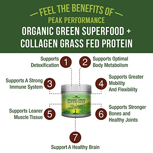 Peak Performance Organic Greens Superfood + Grass Fed Collagen - Ultimate Blend of BEST TASTING Organic Green Juice Superfood With Pure Pasture Raised Hydrolyzed Protein Powder. 42+ Greens and Aminos