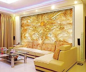 400cmx280cm 3d Wall Murals Wallpaper Golden Flower Stone Marble
