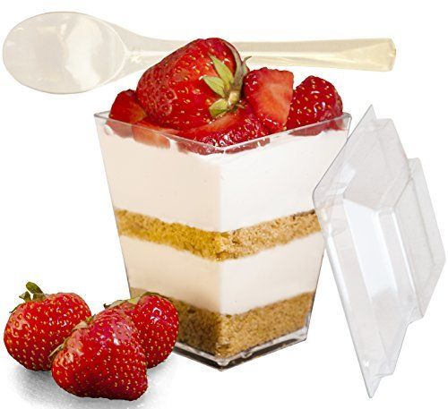 Mr.Foodie 30 Pack Dessert cups with lids and spoons - 5 oz Mini Clear Plastic Parfait Cups]()