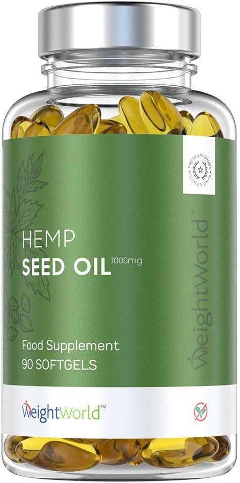 Aceite de Semilla de Cáñamo 1000 mg - Cápsulas de Semillas de Hemp Oil, Alta Concentración de Omega 3 y 6, Para la Salud de las Articulaciones y el Dolor Muscular, 90 Cápsulas