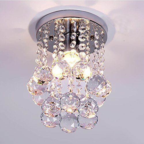 NAVIMC Mini Modern Crystal Chandeliers Rain Drop Pendant Flush Mount Ceiling Light Lamp ,Diameter6.29 Height 9 Inch - Flush Mount Drop Plate