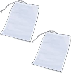 Resusable Brew bag, 2 Pack 74 Micron Filter Fine Mesh Jelly Bag with Tether, Durable Nylon Strainer bag for Wine Making, Beer, Apple Juice, Apple Cider, Jelly (11.8 x 11 inch)