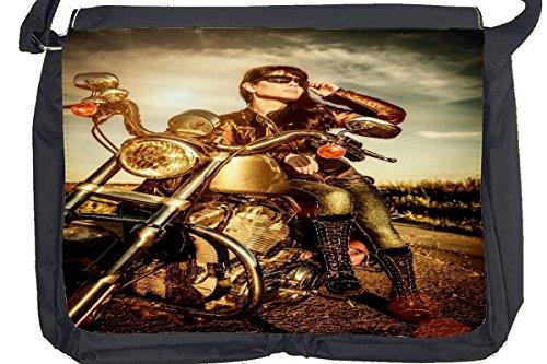 Borsa Tracolla Biker Retrò Ragazza del motociclista Stampato