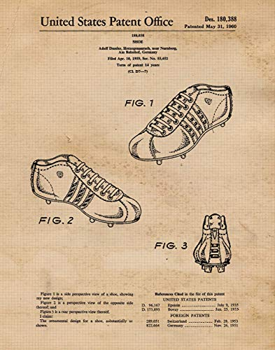Vintage Adidas Shoes Patent Prints, Set of 1 (11x14) Unframed Photo, Wall Art Decor Gifts Under 15 for Home, Office, Garage, Man Cave, Gym, College Student, Teacher, Coach, FIFA Soccer & Futbol Fan