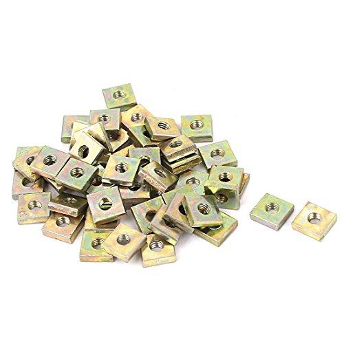 uxcell M3x7mmx2mm Zinc Plated Square Machine Screw Nuts Brass Tone 50pcs