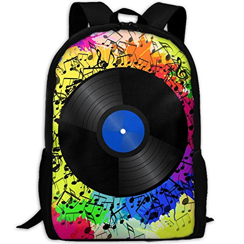 SARA NELL School Backpack Vinyl Record Music Notes School Bookbag Casual Outdoor Daypack Travel Bag For Teen Boys Girls College Student