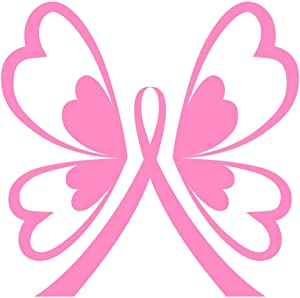 Breast Cancer Butterfly Ribbon - Vinyl - 5 Inches (Color: Pink) Decal Laptop Tablet Skateboard Car Windows Stickers