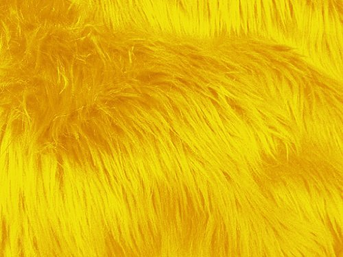 Solid Shaggy Faux/Fake Fur Fabric-Golden Yellow-Long Pile 60