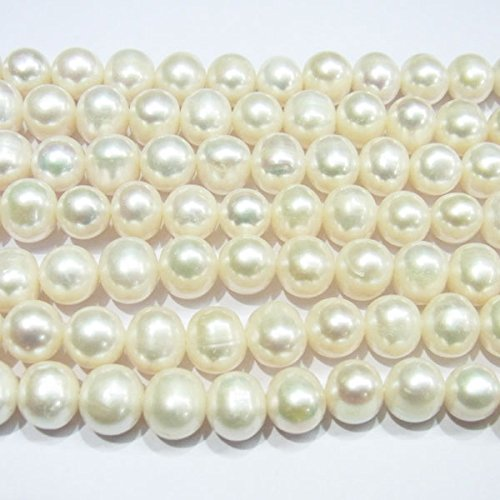 TheTasteJewelry 8-9mm Off Round Genuine White Freshwater Cultured Pearl 15 inches 38cm Jewelry Making Necklace - (9mm White Genuine Pearl Necklace)