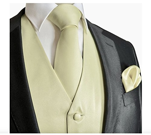 Brand Q 3pc Men's Dress Vest NeckTie Pocket Square Set for Suit or Tuxedo Ivory (Ivory Tuxedo Vest)