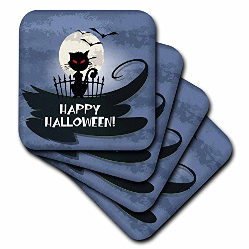 3dRose cst_150147_3 Happy Halloween Greeting Spooky Black Cat Full Moon and Bats Eerie Night Design-Ceramic Tile Coasters, Set of (Cat Tile Coaster)