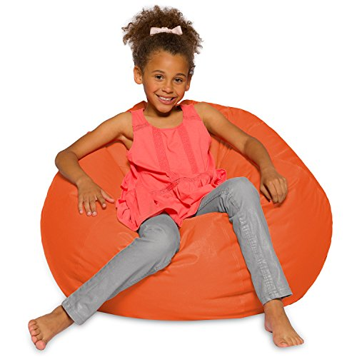Big Comfy Bean Bag Chair: Posh Large Beanbag Chairs with Removable Cover for Kids, Teens and Adults - Polyester Cloth Puff Sack Lounger Furniture for All Ages - 27 Inch - Solid Orange (Bag Orange Bean Chair)