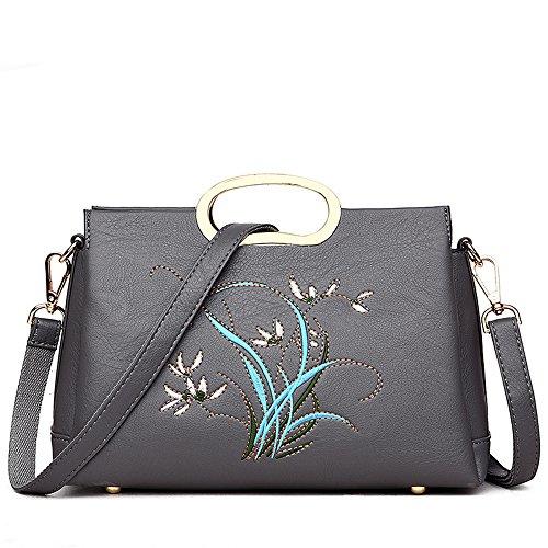 Lady'S Lavaron GWQGZ Cuero Bordado Handbag Con Gray Brown En Agua qYpdpUx6