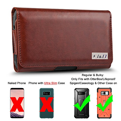 J&D Holster Compatible for Samsung Galaxy S8 Plus/Galaxy S9 Plus/Galaxy J4 Plus/Galaxy J7 Max Holster, PU Leather Pouch Case with Belt Clip, Leather Wallet Case (Fits with Regular & Bulky Case On)