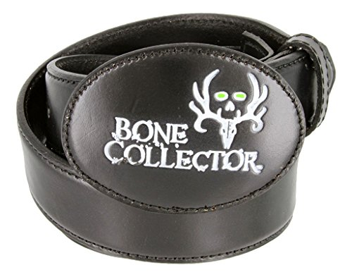 Bone Collector Leather Covered Buckle Casual Leather Belt (Black, 34)