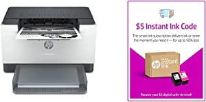 HP Laserjet M209dw Wireless Black & White Printer, with Fast 2-Sided Printing (6GW62F) and Instant Ink $5 Prepaid Code