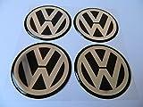 Hanway 4pcs Black vw Emblem Badge Sticker Wheel Hub Caps Centre Cover stickers for Volkswagen (90mm)
