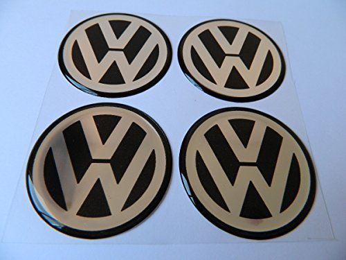 Hanway 4pcs Black vw Emblem Badge Sticker Wheel Hub Caps Centre Cover stickers for Volkswagen (90mm)