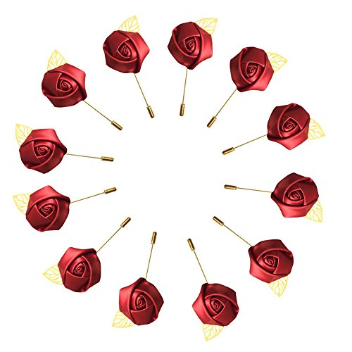 WeddingBobDIY 12Pieces/lot Groom Boutonniere Wedding Silk Rose(3.5cm) Flowers Accessories Prom Pin Man Suit Decoration Wine Red