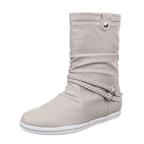 Ital-Design - botas clásicas Mujer Beige