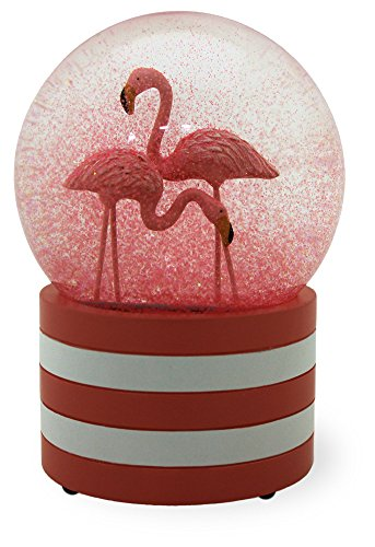 Flamingo Flair Pink 3.5 x 6 Inch Glass Glitter Snow Globe
