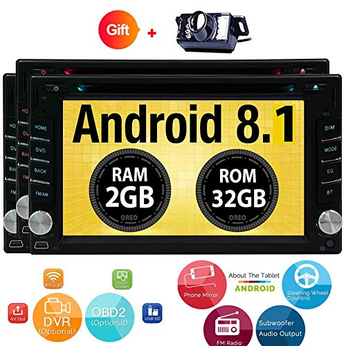 Cheap Android 8.1 Oreo Touch Screen Car Stereo – 6.2″ inch Double Din In Dash Car Radio Video Multimedia DVD Player with Bluetooth Wifi Mirror Link GPS Navigation System +Free Backup Camera!!