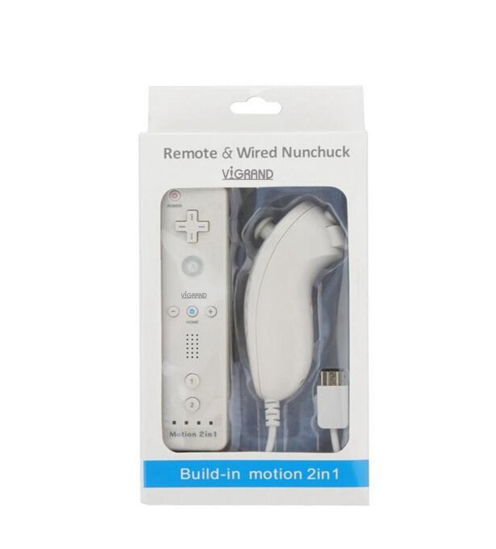 White Built-in Motion Plus Wii Remote + Nunchuck Controller(Wii controller) For Wii (NON-OEM)+ Silicone Case + Wrist Strap (White)