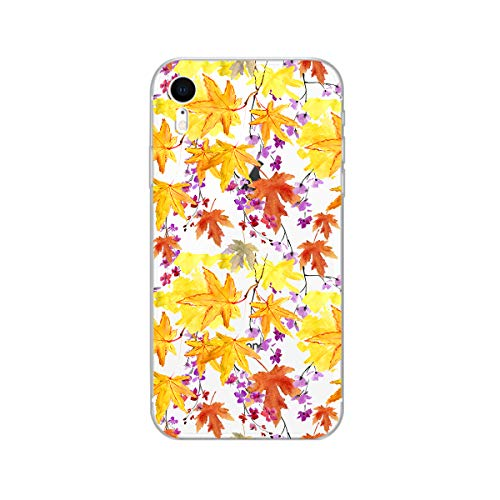 iPhone XR Case,Blingy's New Clear Cute Fall Leaves Style Transparent Clear Soft TPU Protective Case Compatible for iPhone XR(Colorful Autumn Leaves)