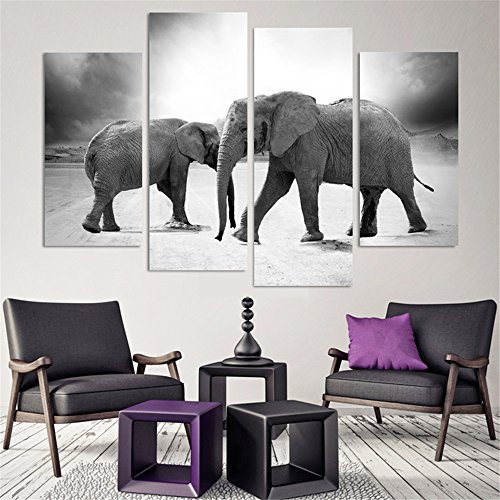 (4 Piece Home Decor Oil Painting Two Elephants HD Print on Canvas Wall Art Picture for Living Room(No Frame) )