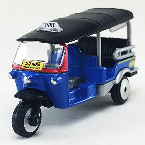 Majorette 2017 Tuk Tuk Thai Open Air Taxi Blue Color 1:60 Diecast Model Toy Car Collectible Souvenirs Gift Miniature Decorative Bangkok Thailand
