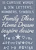 Letter Board Words and Extra Letters Set - 11 Cursive Words & 374 Letters, Numbers,Symbols & Emoji's for Felt Board, Marquee Sign, Word Board or Sign Board with Bonus Storage Bag(No Board)