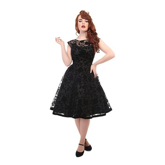 Collectif Vintage Womens Flared Faye Brocade Velvet Rose Swing Dress UK 10: Amazon.co.uk: Clothing